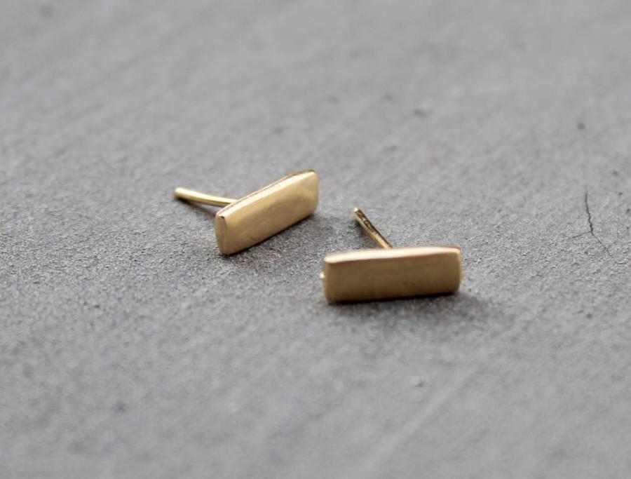 زفاف - Gold Bar Earrings, Bar Stud Earrings Gold, Minimalist stud earrings, gold earring stud, small gold stud earring, Nickel Free Studs