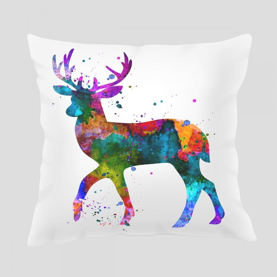 زفاف - Watercolor Deer 1 Throw Pillow, Watercolor Deer  Pillow, Pillow Cover, Accent Pillow, Nursery Decor, Kids Room Decor