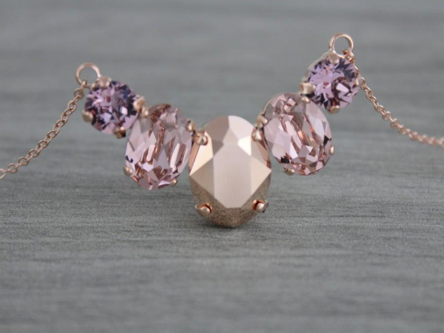 Hochzeit - Crystal Bridal necklace, Rose gold necklace, Wedding jewelry, Swarovski crystal necklace, Blush crystal Bridesmaid necklace Wedding necklace