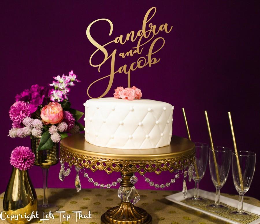 Свадьба - Wedding Cake Topper, Personalized Cake Topper, Gold Topper, Wedding Decor