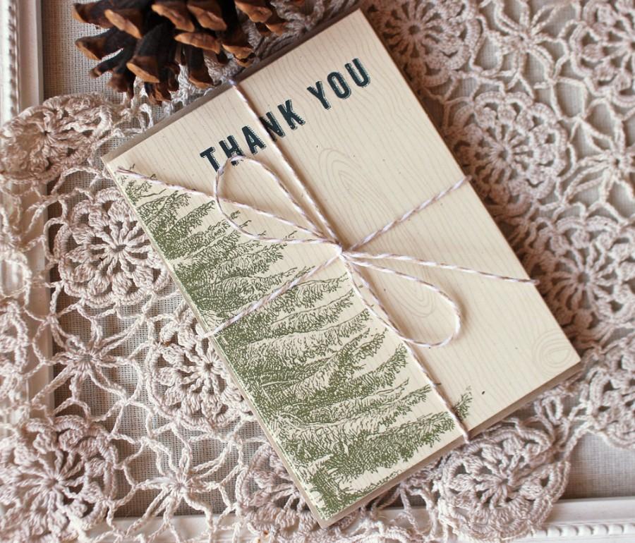 Mariage - Vintage Pine Thank You Notes set of 20