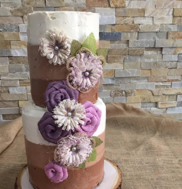 Lavender And Pink Burlap Flower Set