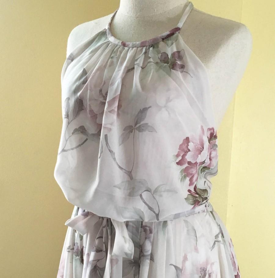 Floral Halter Dresspinkfloral Bridesmaid Dresspartygarden Theme