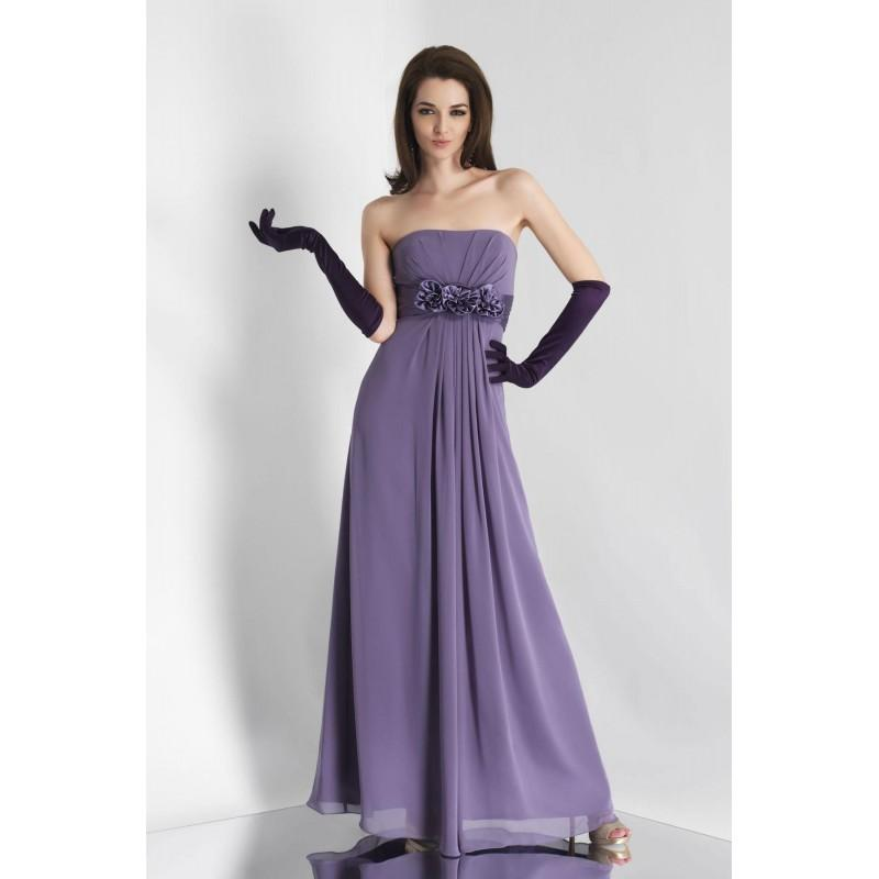Wedding - Simple A-line Strapless Ruching Hand Made Flowers Floor-length Chiffon Bridesmaid Dresses - Dressesular.com