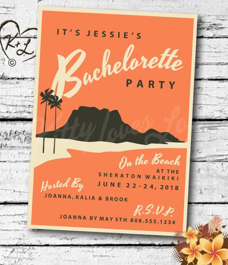 زفاف - PRINTABLE Bachelorette Hens Party INVITATION Digital PDF Wedding Vintage Retro Miami Hawaii Hawaiian destination invite birthday Luau Tiki