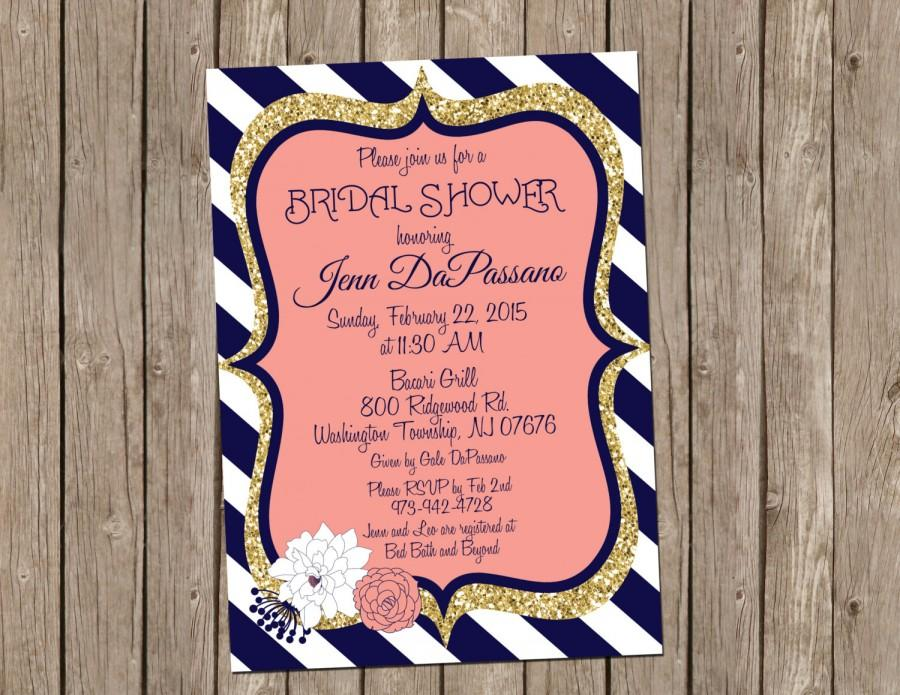 زفاف - Coral and Navy Wedding Invitation, Bridal shower, Gold, Digital file, Printable- T11