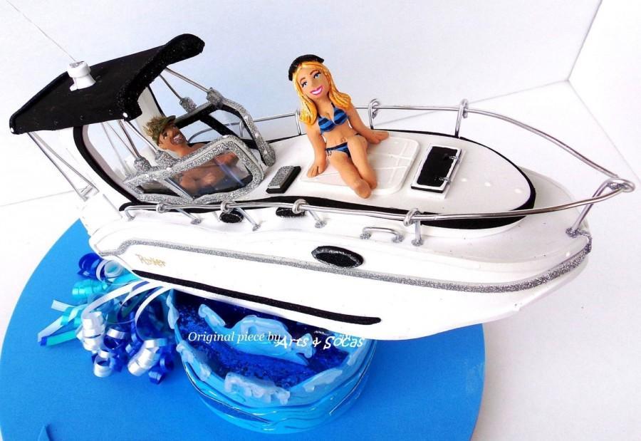 زفاف - Sailboat Wedding or Birthday Look alike cake topper customized party centerpiece