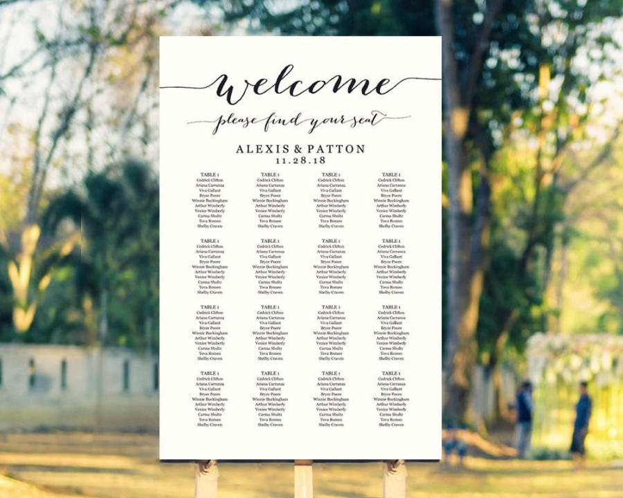 زفاف - Wedding Seating Chart Template in FOUR Sizes, Welcome Please Find Your Seat, Seating Chart Poster, DIY Printable, Reception Sign #BT104