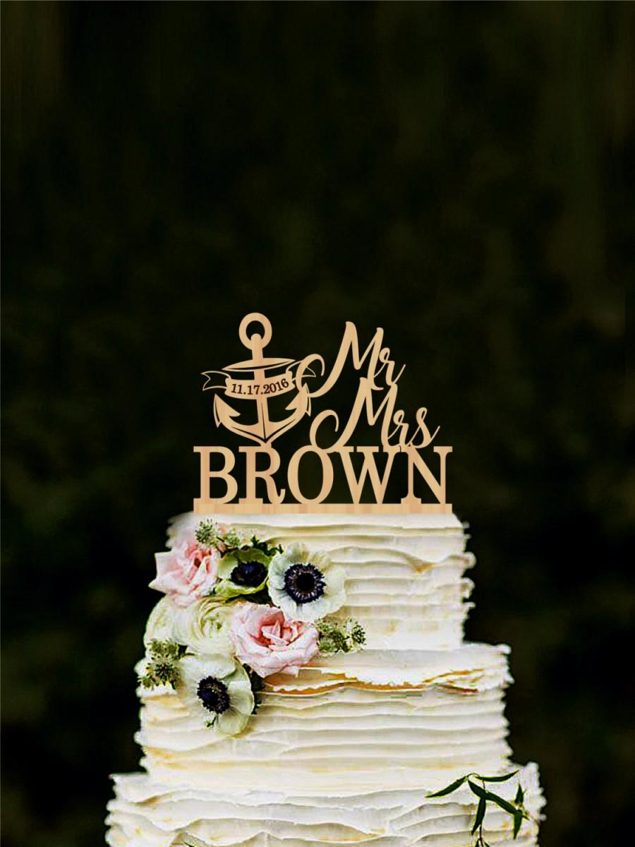 Mariage - Mr and Mrs cake topper with anchor, nautical anchor cake topper, wedding cake topper, personalized cake topper with last name, gold silver