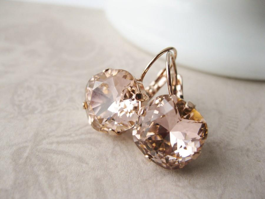 Hochzeit - Blush and Rose Gold Bridesmaid Earrings Swarovski Crystal Elements Vintage Rose Wedding Jewelry Lightest Pink Bridal Earrings Romantic Drops