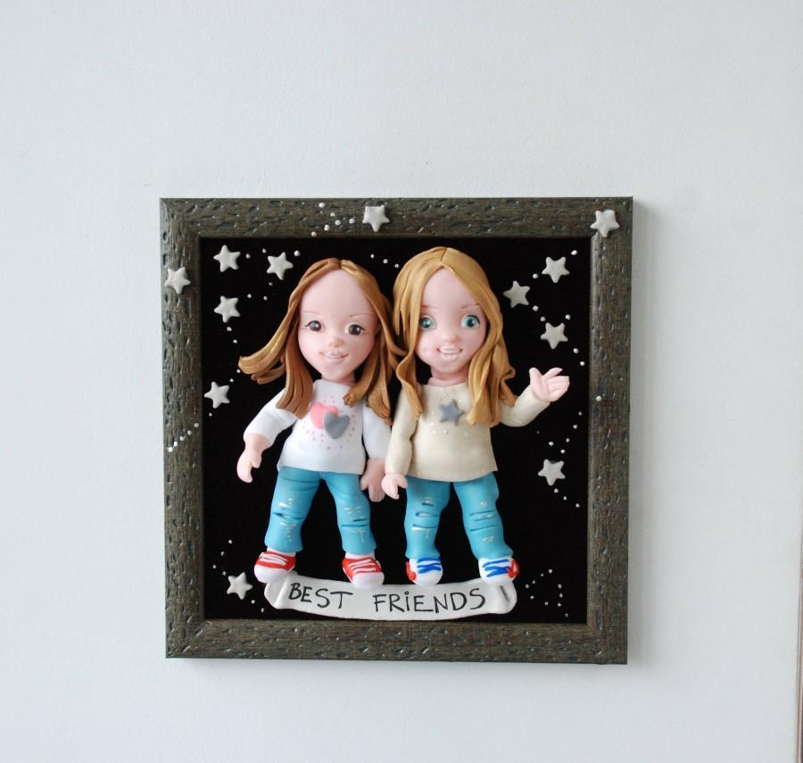 Wedding - Best Friends Birthday Personalized Gift Amazing Gift Gift for Sister Polymer Clay Custom Made Portrait Friendship Gift Unique Gift