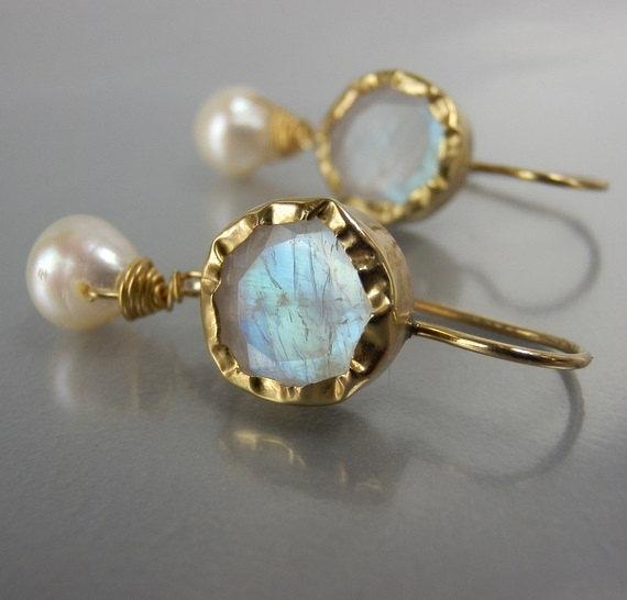 Wedding - Solid Gold Moonstone Earrings, Pearl Moonstone Earrings,Rainbow Moonstone Earrings, Bridal Earrings, Moonstone Earrings, Wedding Earrings
