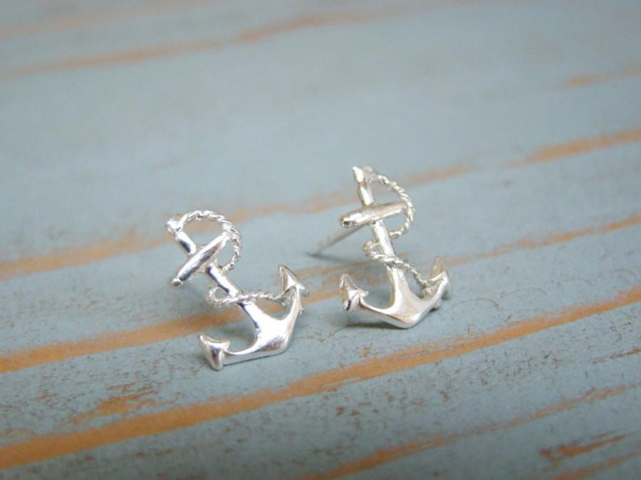Wedding - Anchor Stud Earrings, Sterling Silver Studs, Nautical Jewelry, Bridesmaid Earrings