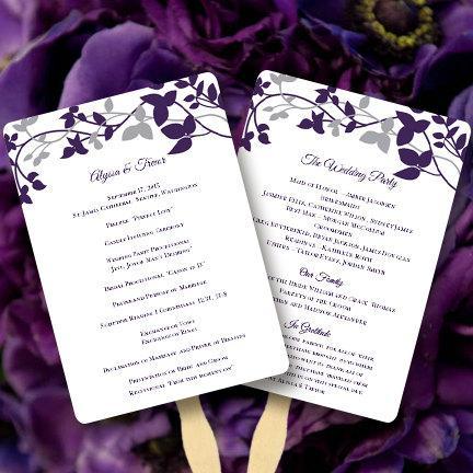 """زفاف - Wedding Program Fan """"Forever Entwined"""" Purple Eggplant & Silver Printable Order of Service Word.doc Template All Colors DIY U Print"""
