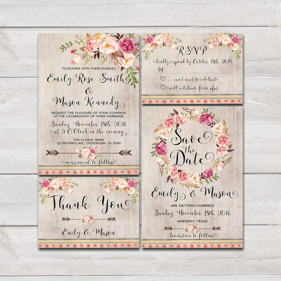 Floral Bohemian Wedding Invitation Printable Wedding Invitation ...