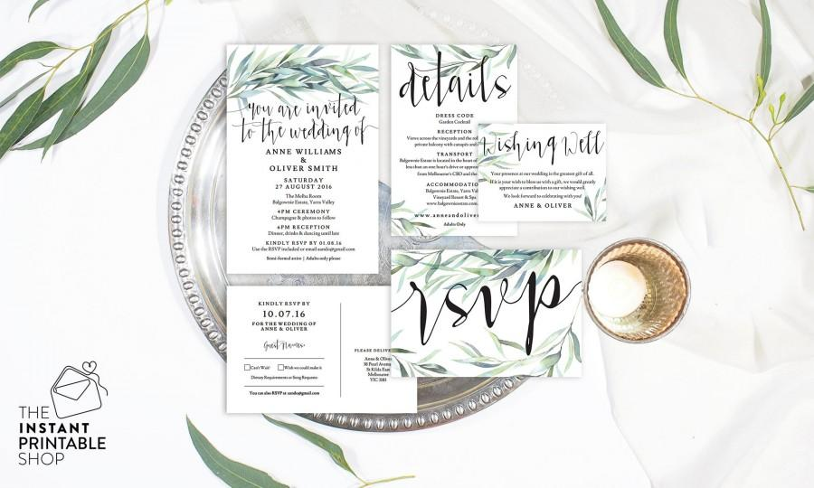 Eucalyptus Wedding Invitation Set Watercolour