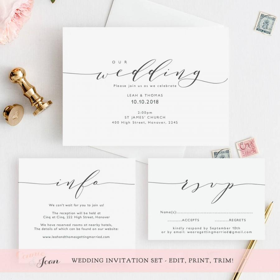"Mariage - Wedding invitation template, invitation set. Printable wedding invitation, rsvp and info card. DIY invitations. Edit, print, trim! ""Wedding"""