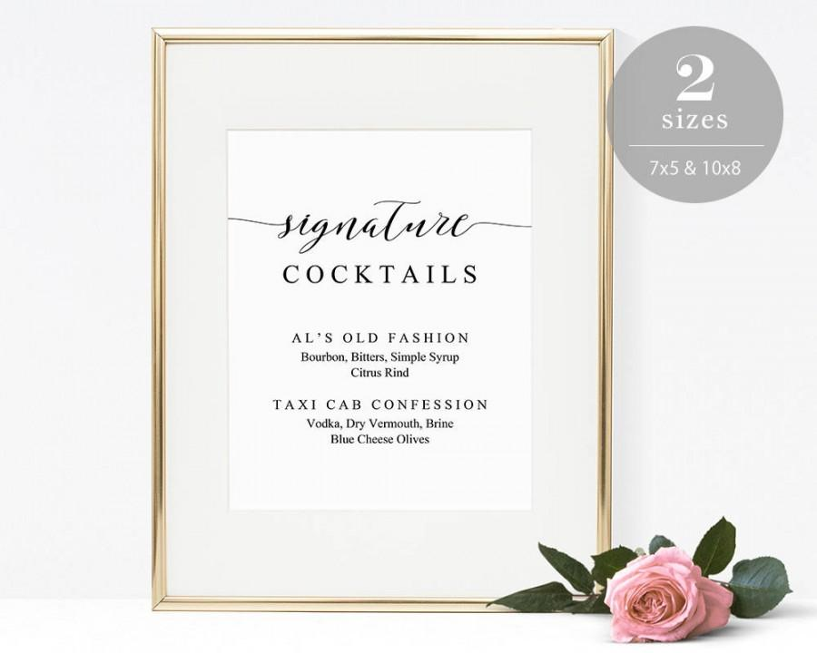 Signature cocktails sign template printable drink sign for Wedding drink menu template free