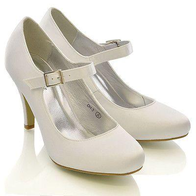 Wedding - Womens Bridal Stiletto White Ivory Satin Ladies Heels Wedding Bridesmaid Shoes