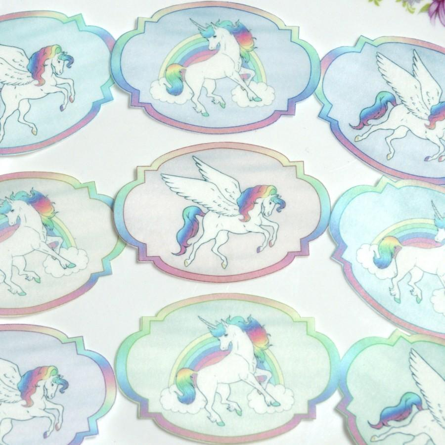 Mariage - Edible Unicorn Pegasus Rainbow Sherbet Pastel Wafer Rice Paper, Birthday Cupcake Toppers Wedding Cake Decorations Horse Cookie Favours Wings