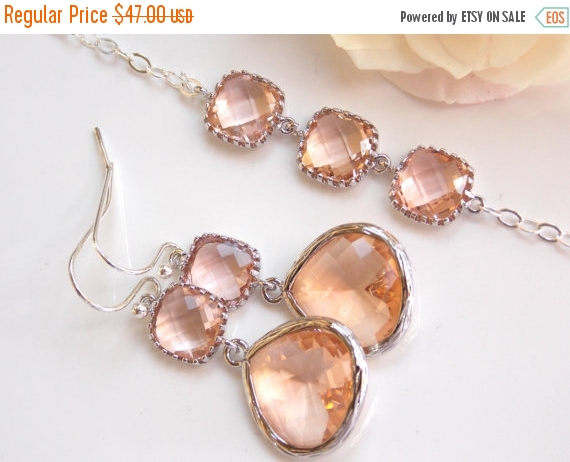 Hochzeit - SALE Wedding Jewelry Set, Peach Earrings and Bracelet, Sterling Silver, Champagne, Blush, Bridesmaid Gifts, Bridesmaid Jewelry, Dangle, Gift