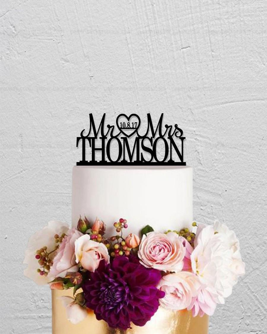 Mariage - Mr And Mrs Cake Topper,Wedding Cake Topper,Wedding Decoration,Custom Cake Topper,Last Name And Date Cake Topper,Rustic Cake Topper