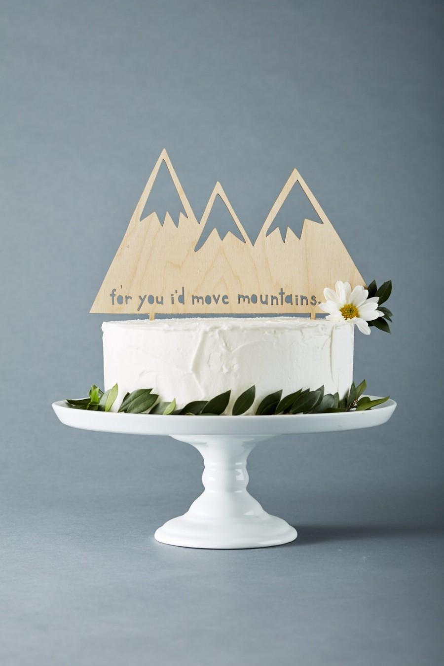 Hochzeit - Custom Wedding Cake Topper - Mountains - Rustic Wooden Wedding Decor - Personalized Wedding Cake Topper - Lasercut Cake Topper