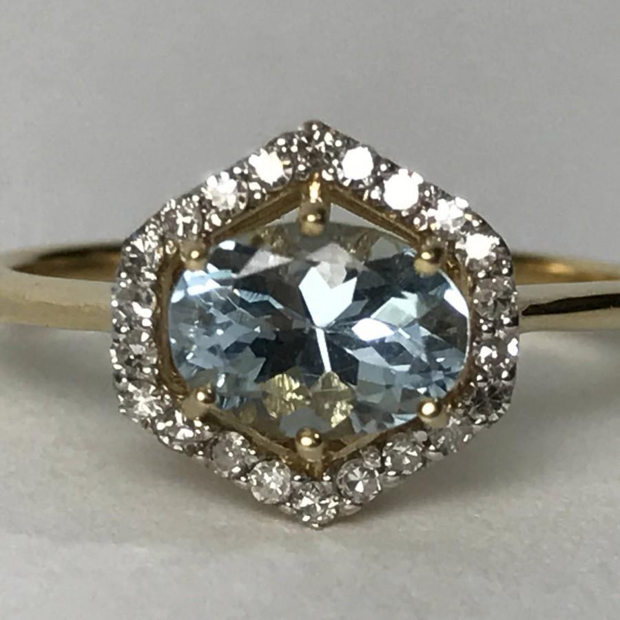 زفاف - Vintage Aquamarine Diamond Ring. 14k Gold. Modernist Setting. Unique Engagement Ring. March Birthstone. 19th Anniversary. Estate Jewelry.