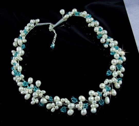 Свадьба - LIONA - Freshwater Pearls And Blue Topaz Swarovski Crystals Necklace