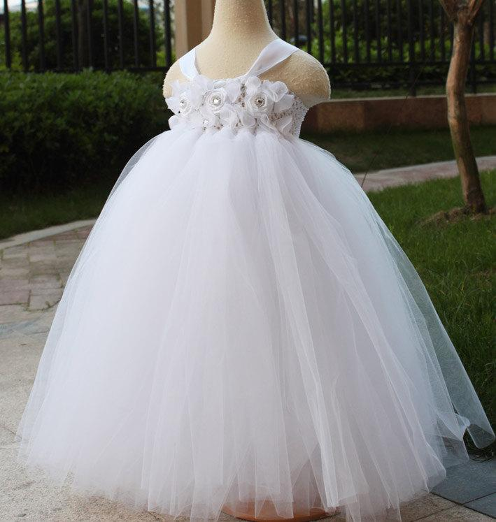 زفاف - White tutu dress Flower Girl Dress baby dress toddler birthday dress wedding dress 1T 2T 3T 4T 5T 6T