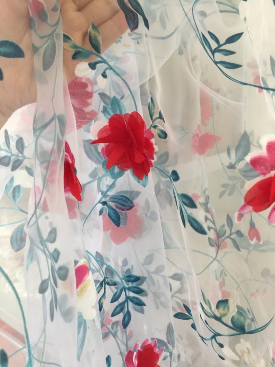 Mariage - 3D lace fabric , vivid blossom printing lace fabric, floral embroidered lace fabric