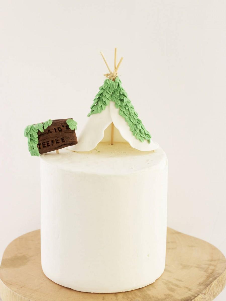 Свадьба - Teepee Cake Topper. Teepee Tent Decoration, Cake Decorations, Personalized Cake Decor