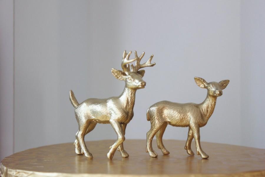 زفاف - Sale GOLD DEER DOE female Animal Cake Topper Figurine Woodland Rustic Woodsy Whimsical Primitive Buck Country Theme Hunting Vintage Nature