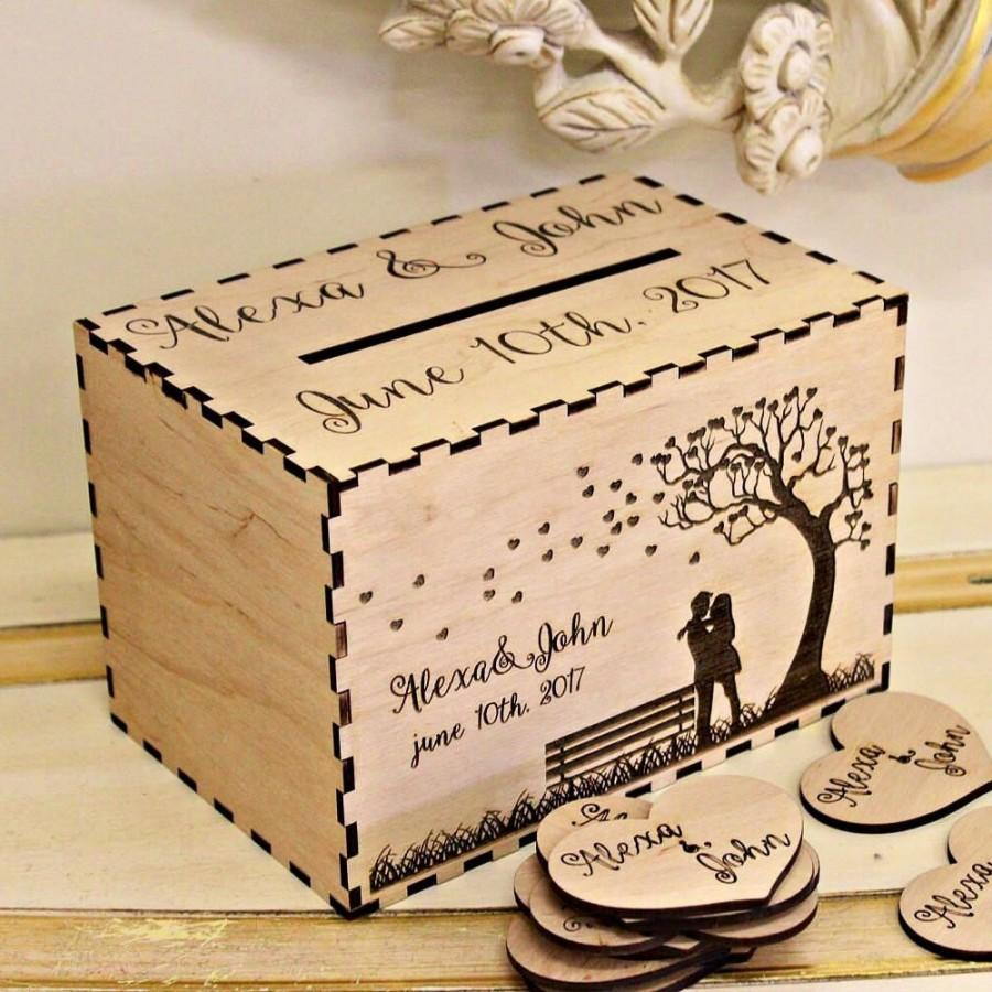 Mariage - Wedding Card Box, Personalized  Wedding Card Box, Rustic Wood card holder,Wishes Box,Memory Box, Card Holder, Personalized Engraved card Box