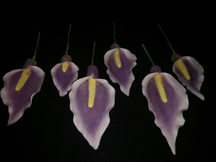زفاف - 6 Edible Piccaso Gum paste  CALLA LILIES-Calla Lily /  Cake decoration / Edible flower / sugar flowers / wedding cake decorations