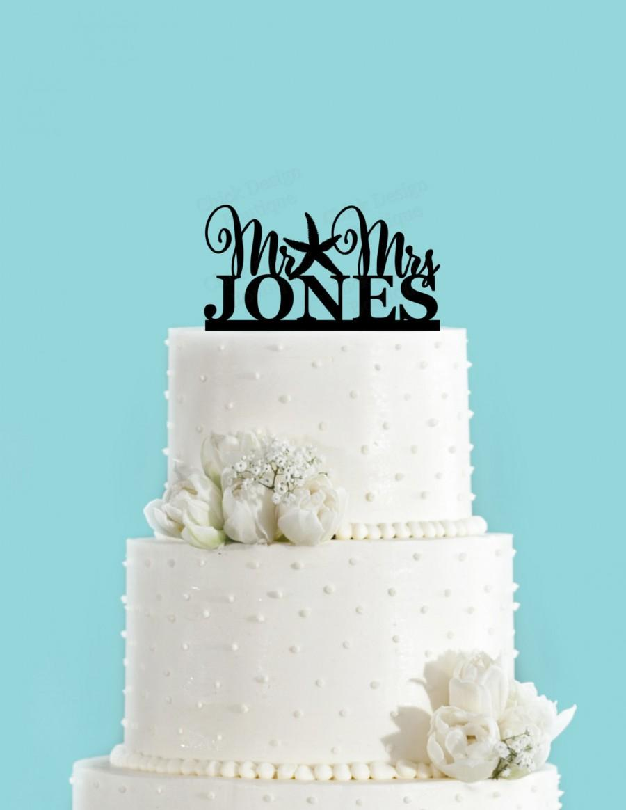 Starfish Beach Themed Summer Wedding Mr Mrs Personalized Acrylic Cake Topper