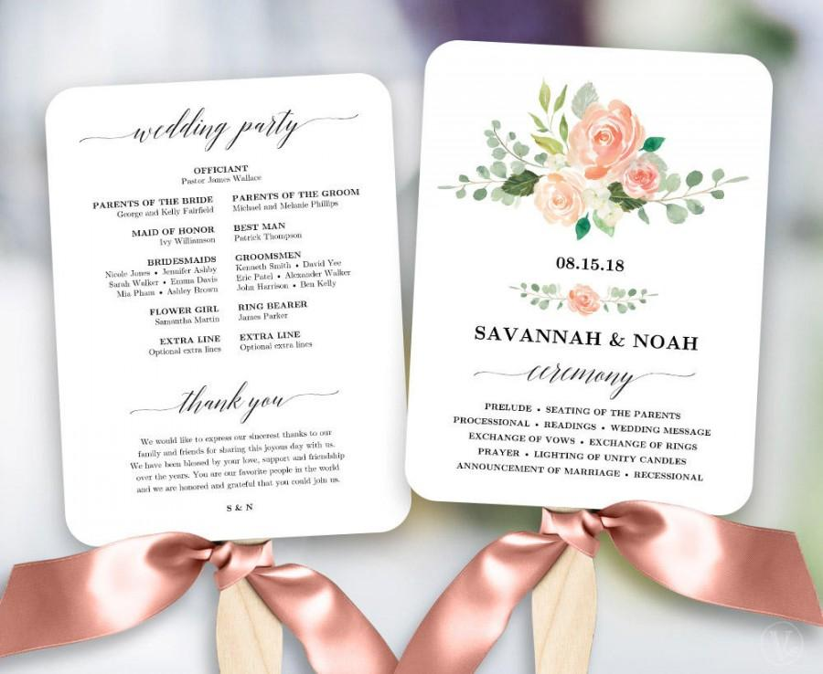 Peach blush floral wedding program fan template printable fan wedding programs diy wedding for Wedding program fans templates free