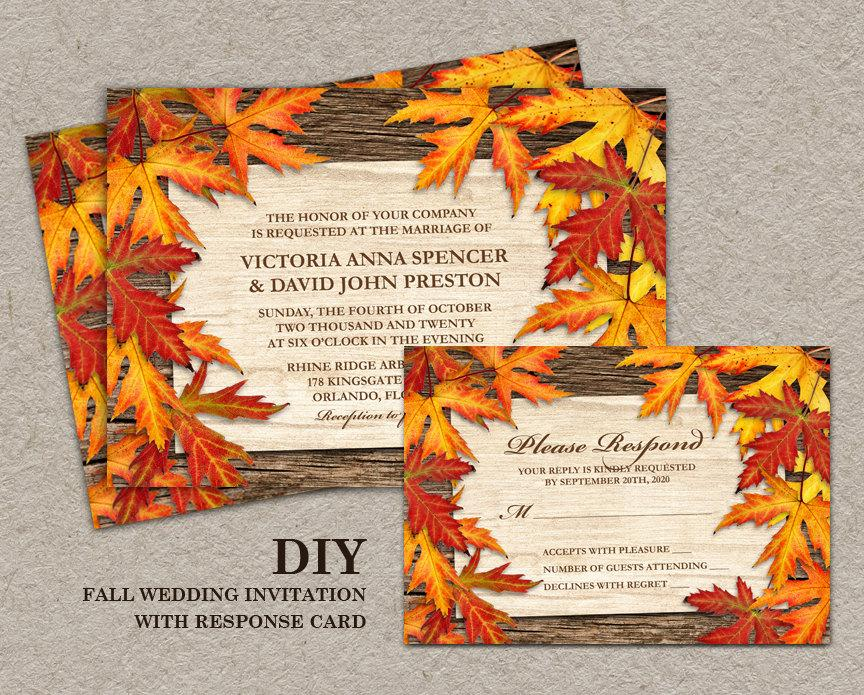 Mariage - DIY Printable Fall Wedding Invitations And RSVP Cards With Leaves, Fall Wedding Invitation Set With Colorful Autumn Leaves On Wood