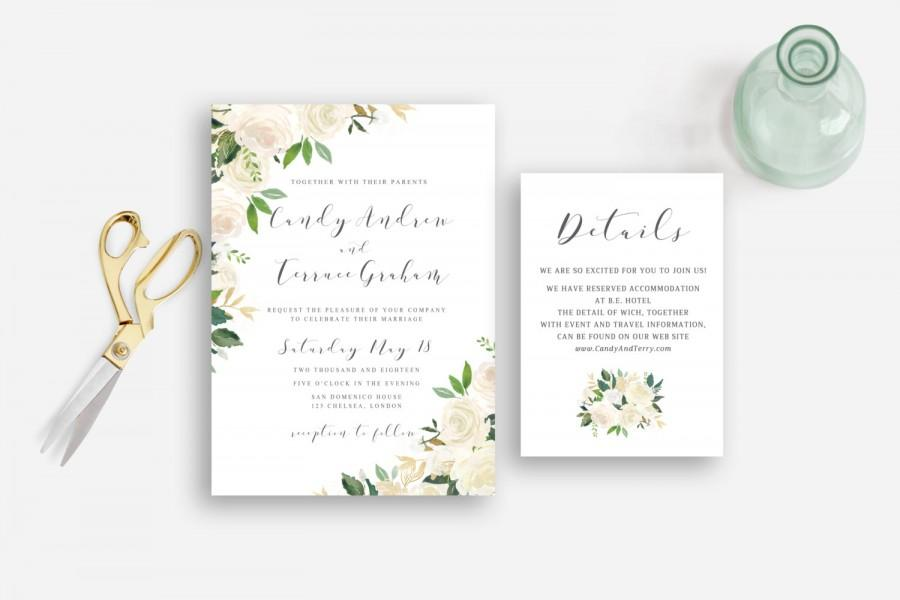 Mariage - Wedding invitation floral watercolor garden greenery printable, Whites roses watercolor invitation, Postcard RSVP, The Asli collection