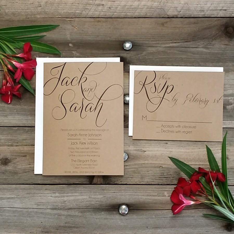 PRINTED Country Rustic Wedding Invitation Package, Printed Rsvp W ...