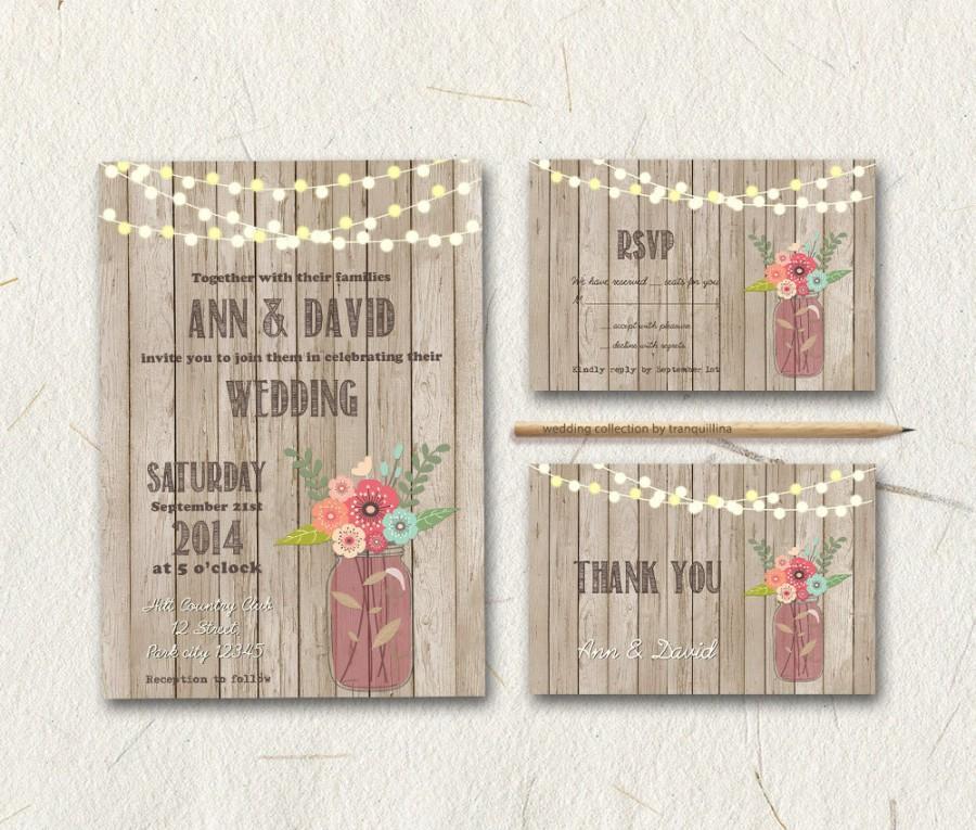 Mariage - Mason Jar Wedding Invitation Printable, Rustic Wedding Invitation, Country Wedding Invite, Printable Wedding Invitation Suite, Digital