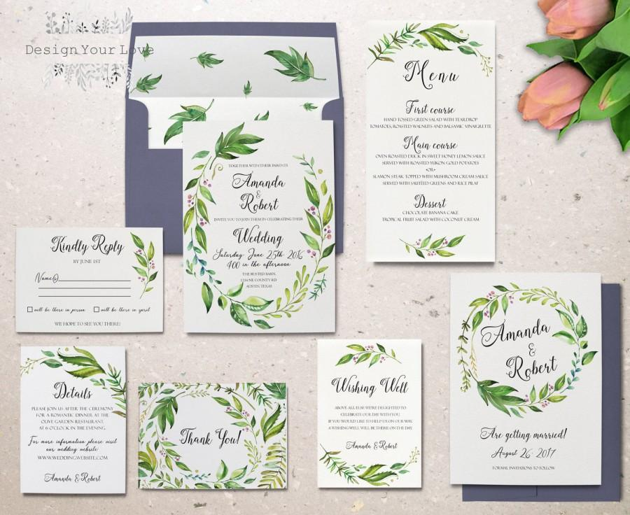 Mariage - green wedding invitation set printable wedding invitation suite greenery leafy invitation watercolor floral garden wedding invitation wreath
