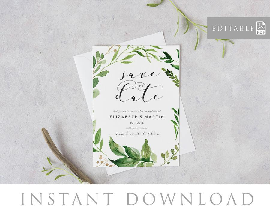 Save The Date Editable Pdf Template Instant Download Green Leaves
