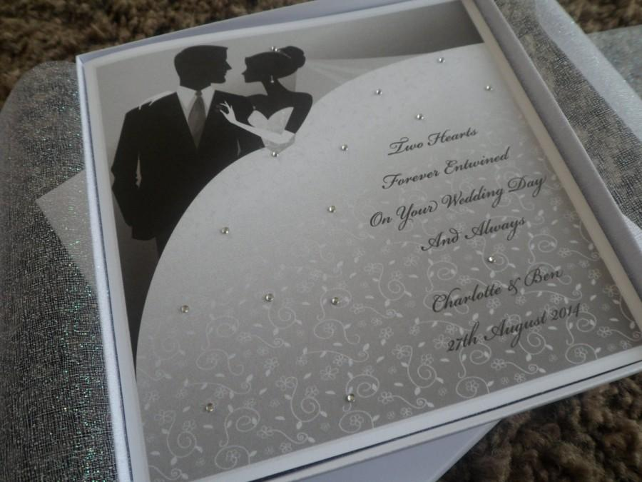 """Mariage - Handmade Personalised 6"""" Square Organza Lined Boxed Wedding Card"""