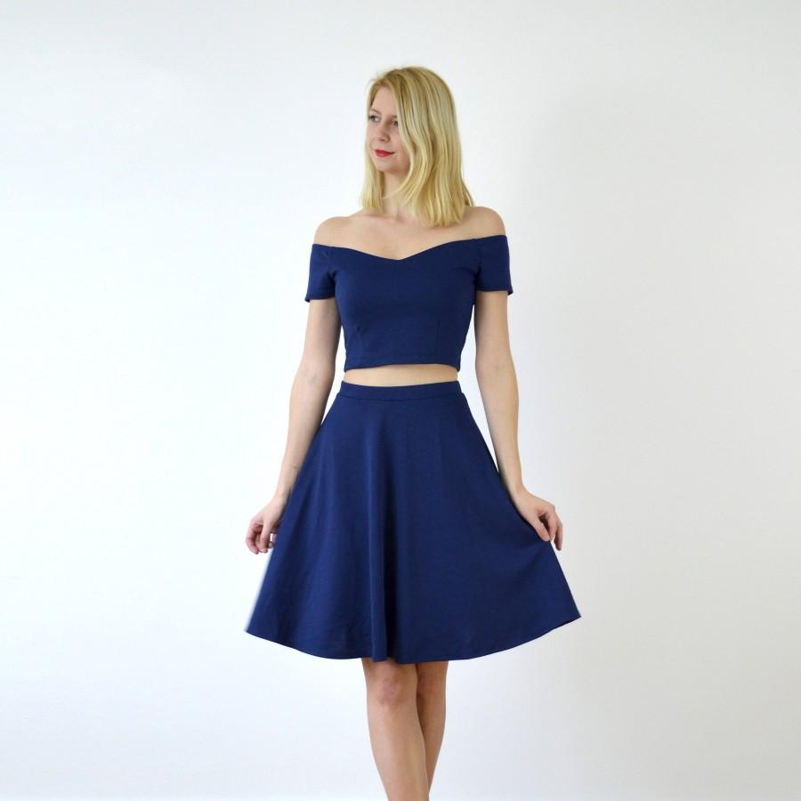 Navy Wedding Bridal Midi Skater Skirt. Blue Bridesmaid High Waist Skirt.  Knee Length Wedding Guest Skirt for Summer Autumn Wedding Occasion 997c9e611d5c