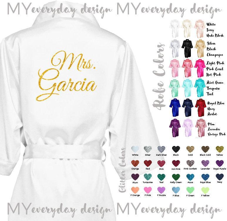 Свадьба - Bride Robe, Wedding Day Robe, Glitter Bridal Robe, Bride Satin Robe, Lingerie Shower Gift, Can Be Bridesmaid Robe, White Robe, Blush Robe