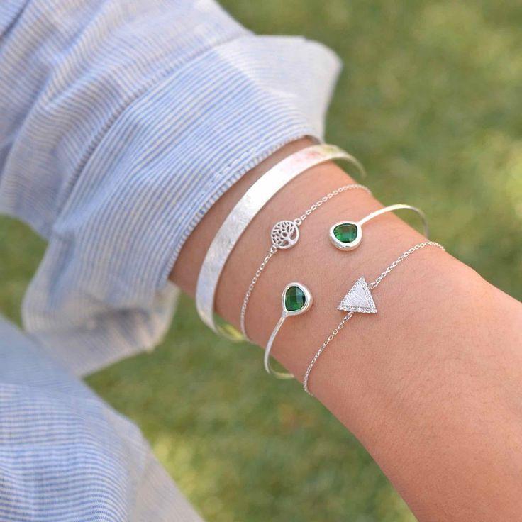 Mariage - Majolie - Bracelet Triangle Diamanté Argent