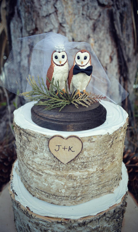 زفاف - Owl-wedding-cake topper-bride-groom-rustic-woodland-animal-bird-custom-Mr.and Mrs.-barn owl-owl lover-just married-snow owl-hoot owl-western