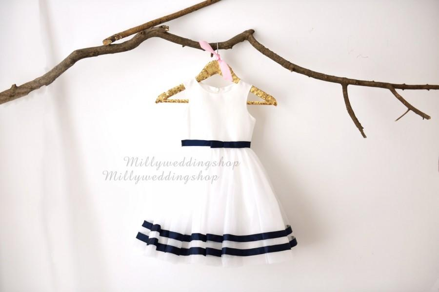 Wedding - Ivory Taffeta Tulle Navy Blue Stripes  Flower Girl Dress Wedding Junior Bridesmaid Dress M0031