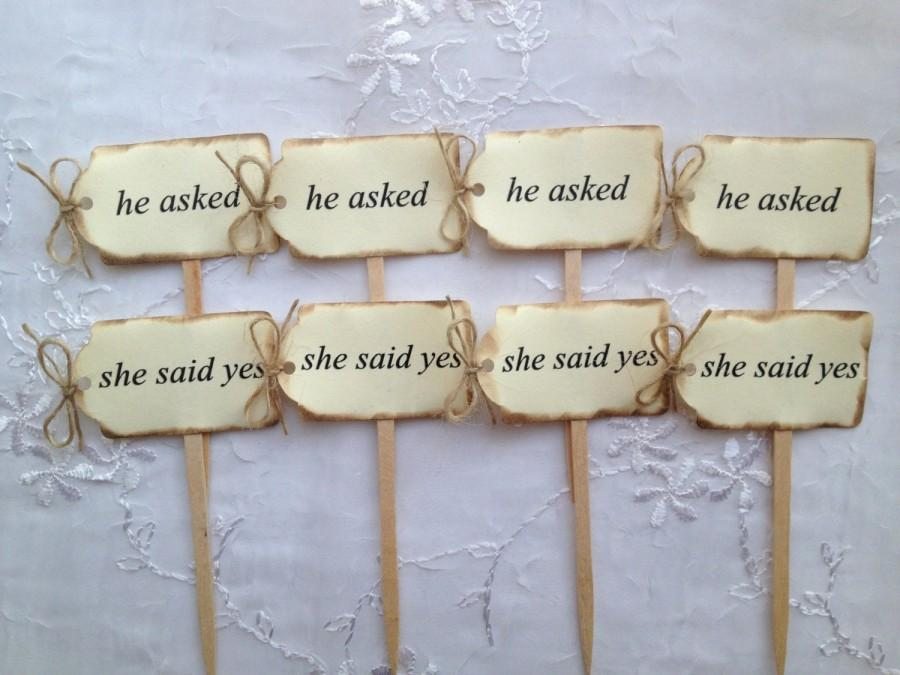Mariage - Wedding Vintage Personalized Cupcake Toppers Burnt Rustic Burlap Twine Shower Set of 24